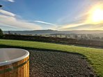 Enjoy stunning views and sunsets from the Retreat's wonderful wood burning Hot Tub