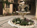 The courtyard fountain has become a beautiful flower bed! Très jolie!