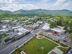 Aerial of Black Mountain's town square-