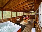 Screened in Deck w/ Pool Table and Hot Tub