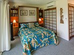 Comfortable guest room with queen size Murphy bed down.  Separate ductless AC unit for this room.
