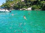 Na baía de Paraty é comum mergulhar com várias espécies marinhas