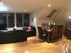 Exeter penthouse - Open-plan living space (night shot)