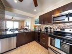 granite, stainless appliances
