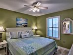 Your updated and upgraded bedroom with king size bed.