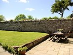 Safe, secure, south facing walled garden. Ideal for fun with the children and your pets.