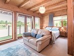 Master bedroom, with views across the lake