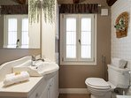 Retro and modern bathroom with shower
