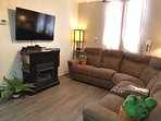 50' TV, real flame fireplace,Blu Ray DVD player