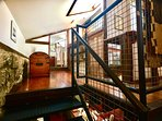 Stylish and safe industrial steel staircase to the first floor...