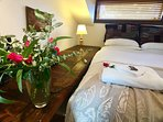 Feel thoroughly spoilt. We love fresh flowers and French linen sheets....