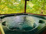 Bubbly hot tub on back deck to soak your cares away.