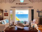 Great room with ocean view. Opens to pool and decks.