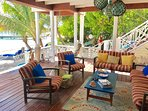 Private lounge on Turtle Beach for our guests.  One of a kind on St Kitts!