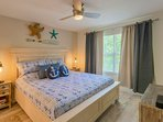 Newly renovated bedroom with king size bed and 32' Smart TV