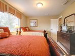 Upstairs Double Full Bedroom - Two Full Beds & Flat Screen TV - Sleeps Up to 4 Guests - View #2