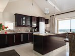 Kitchen with sea views.