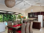 Airy open plan living and kitchen area