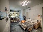 Splendido soggiorno con divano letto matrimoniale alla francese (140cm)