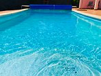 Large 32 sq mt pool. Inviting warm crystal clear waters. Insulating pool cover.