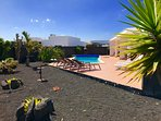 Privacy and sunshine all day long. South and west facing.  Tropical gardens. Canarian BBQ.