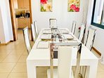 ground floor indoor dining for 8 people extending to 12 if required