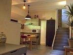 open-space, séjour, cuisine salon, bureau