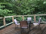 second story deck adjacent to kitchen and Dining room.