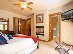 Two-way gas fireplace, flat screen TV, ensuite bathroom and walk-out balcony in the Master bedroom