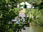 Bluebell Yurt just steps away for Lily lake where you can sit on the decking and seethe sun set.
