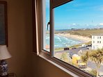 View over Fistral Beach and coastline from the lounge window, 5 minutes walk from Casa Sirena.