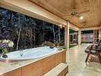 Outdoor private spa with Tropical Rainforest Views