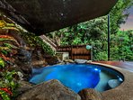 Private Heated plunge pool with waterfall with Tropical Rainforest Views