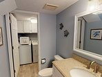 Full size washer and dryer off half bath on first floor