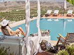 Panoramic views of mountains and Cretan sea from the pool area