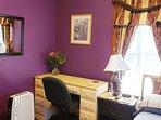 bedroom desk, heater, night stand