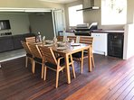 The covered deck is a great place to relax