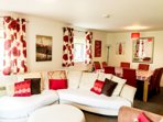 Open plan lounge and dining area in your holiday home