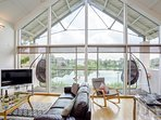 Double height vaulted ceiling further enhances the feeling of space
