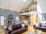 Useful extra mezzanine floor area with bathroom, great for a kids play area