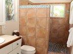 Bella doccia personalizzata con luce naturale nel bagno principale