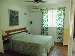 Bedroom with Queen bed, A/C (bedroom only), ceiling fan, security bars in window.