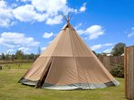 on site tipis by the restaurant