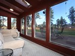 Large Sun Porch with picture windows view of the mountains