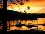 Front Deck view of a Fall sunset over Big Bear Marina