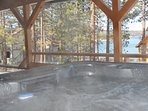 Keep the stress away in the Hot Tub on covered front Deck while enjoying Lake & Mountain views
