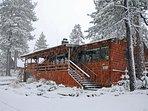 4 Seasons Of Fun Cabin Front 1st Snow in Big Bear Lake CA