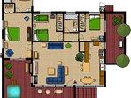 Family Friendly Single Story floor plan furniture