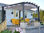 Waterfacing deck. Stunning waterview Pergola with retractable canopy.over dining area,