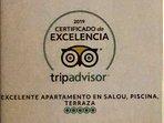 Diploma que nos ha otorgado TripAdvisor por nuestro Excelente Apartamento en Salou